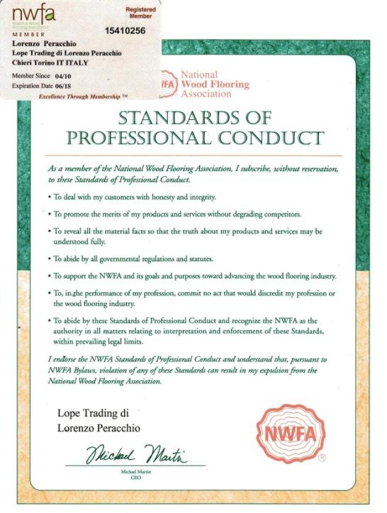 NWFA certificato pavibamboo