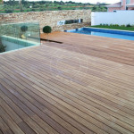 swimming pool bamboo decking
